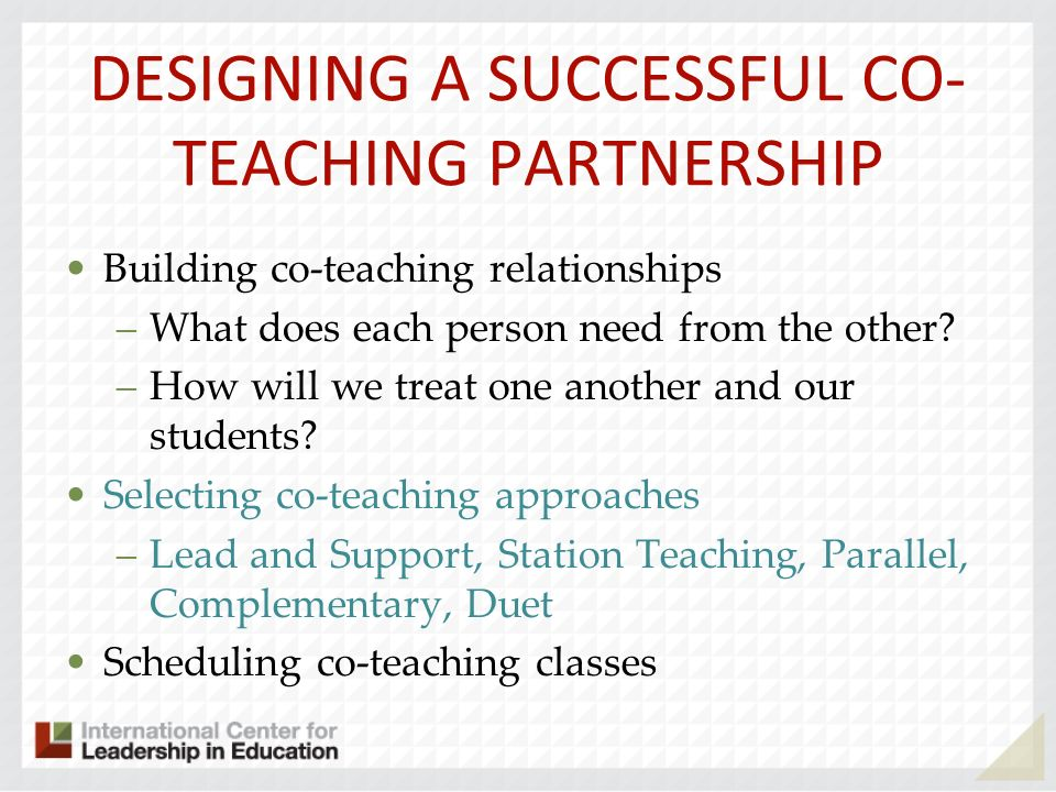 DESIGNING A SUCCESSFUL CO-TEACHING PARTNERSHIP