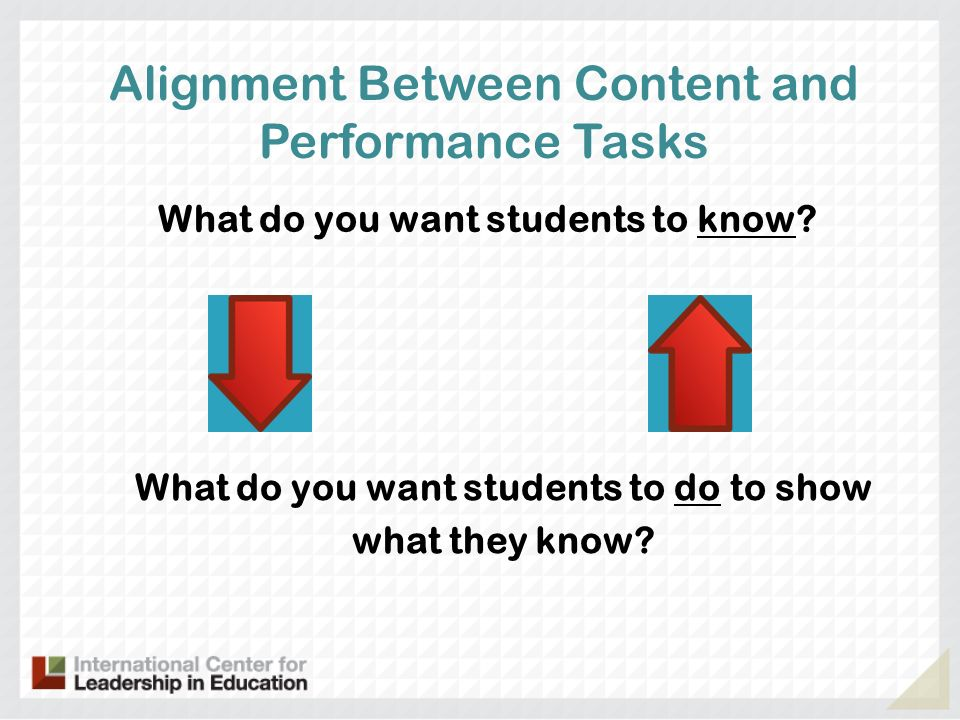 Alignment Between Content and Performance Tasks