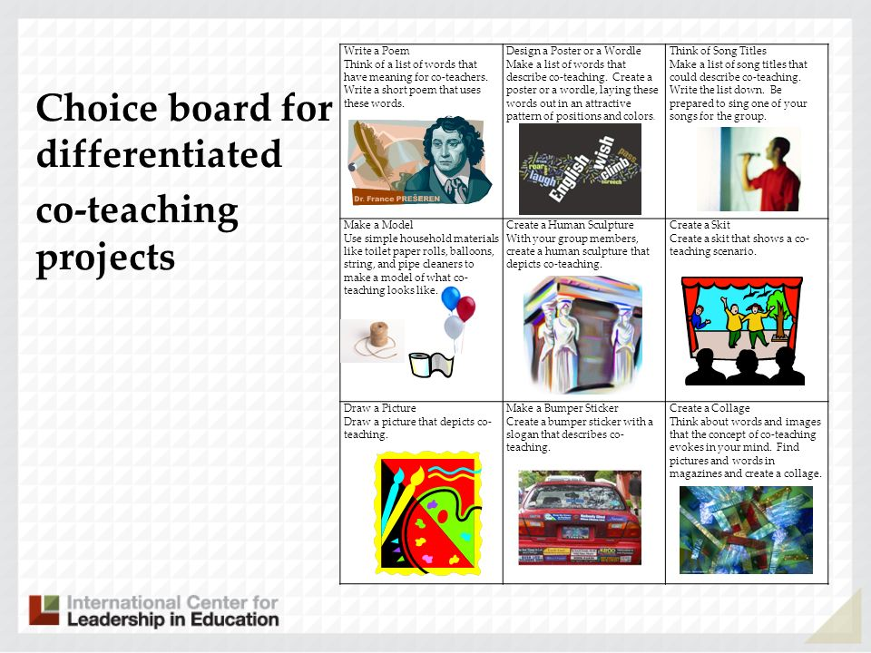 Choice board for differentiated co-teaching projects
