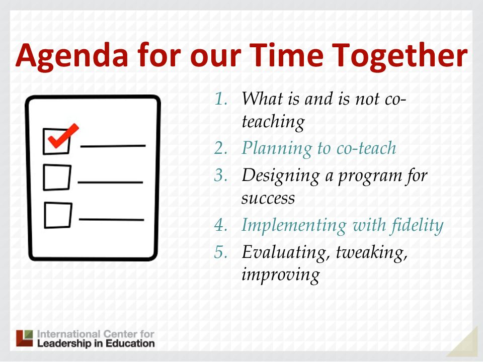 Agenda for our Time Together