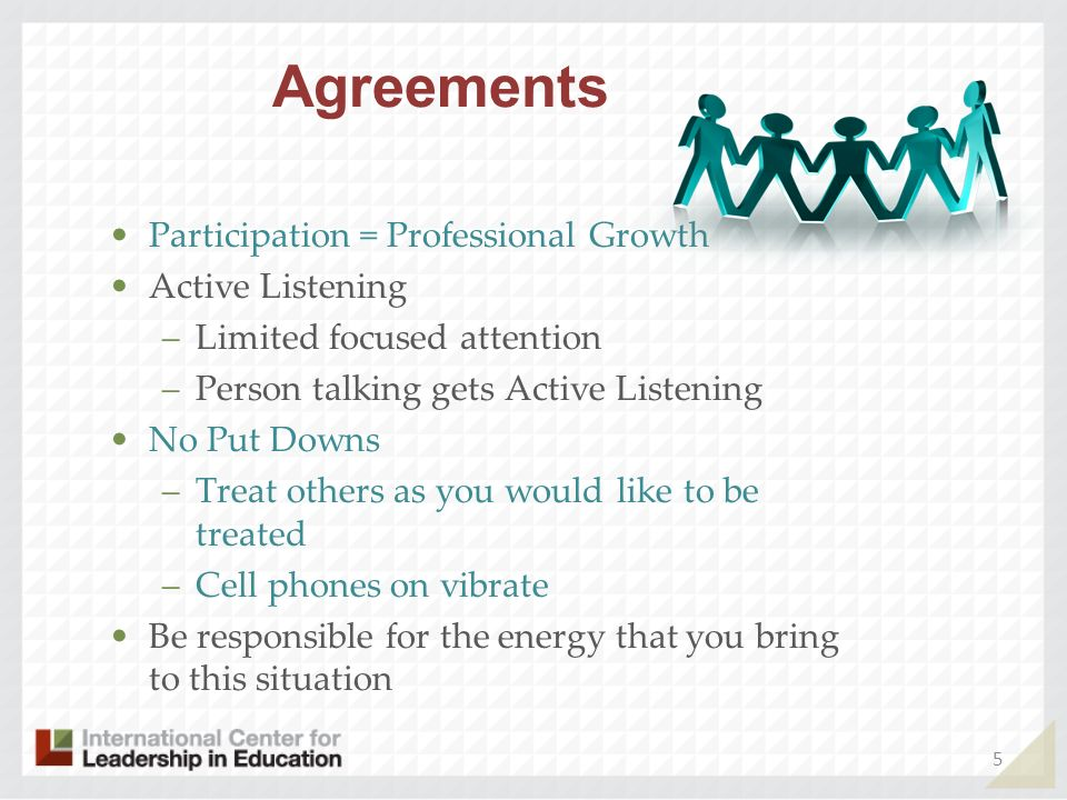 Agreements Participation = Professional Growth Active Listening