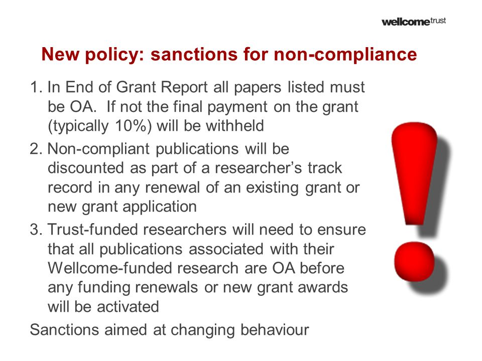 New policy: sanctions for non-compliance