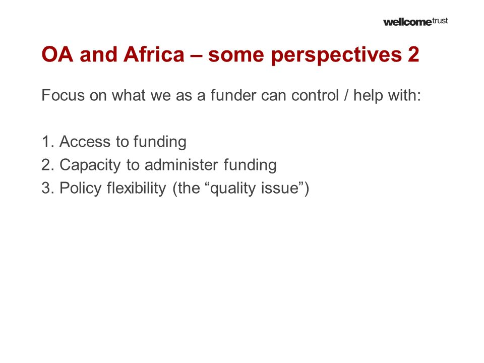 OA and Africa – some perspectives 2
