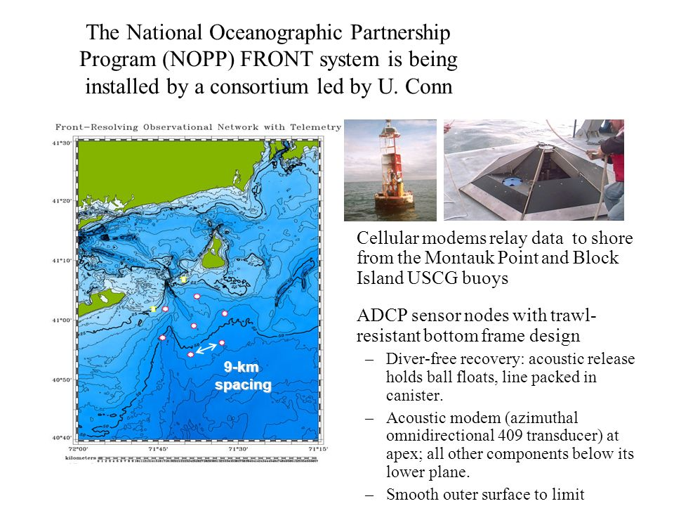 The National Oceanographic Partnership Program (NOPP) FRONT system is being installed by a consortium led by U. Conn