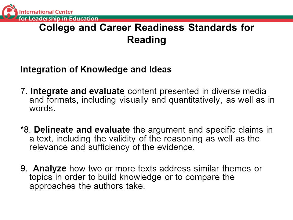 College and Career Readiness Standards for Reading