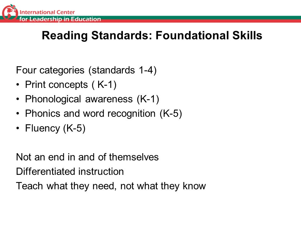 Reading Standards: Foundational Skills