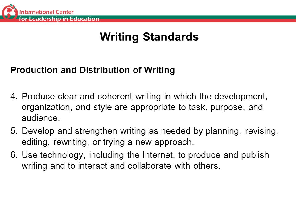 Writing Standards Production and Distribution of Writing