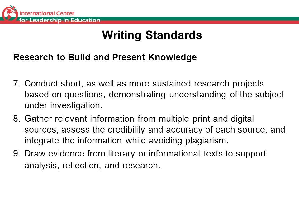 Writing Standards Research to Build and Present Knowledge