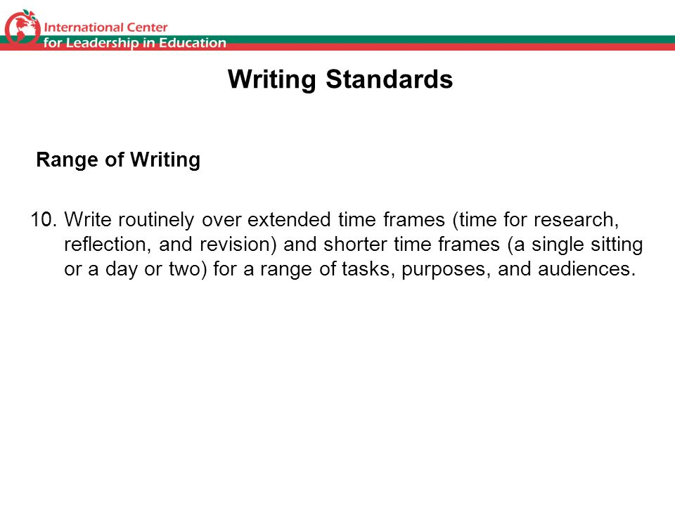 Writing Standards Range of Writing