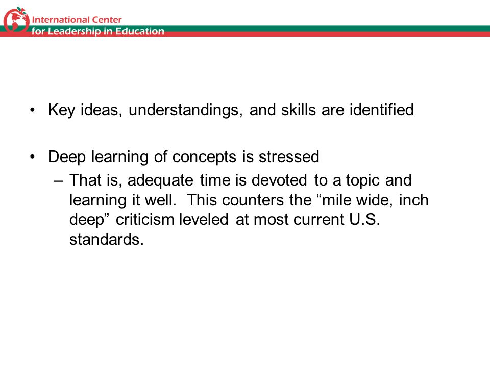 Focus Key ideas, understandings, and skills are identified