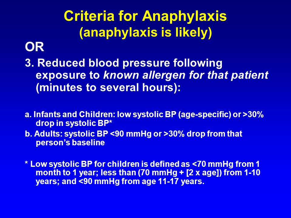 Criteria for Anaphylaxis (anaphylaxis is likely)