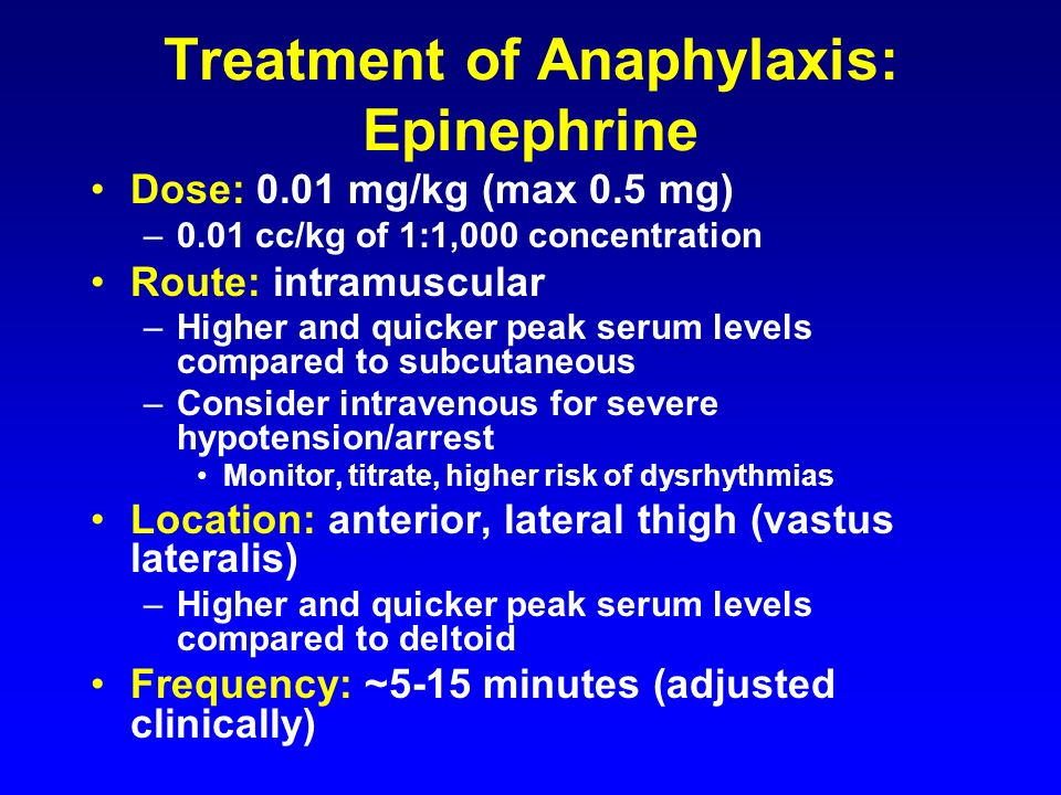 Treatment of Anaphylaxis: Epinephrine