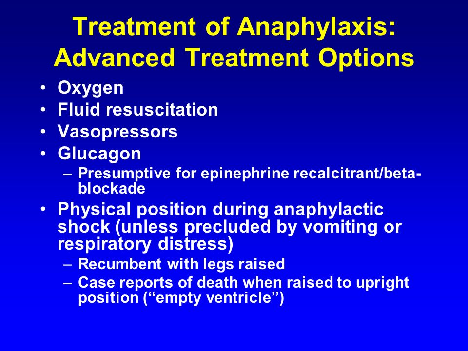 Treatment of Anaphylaxis: Advanced Treatment Options