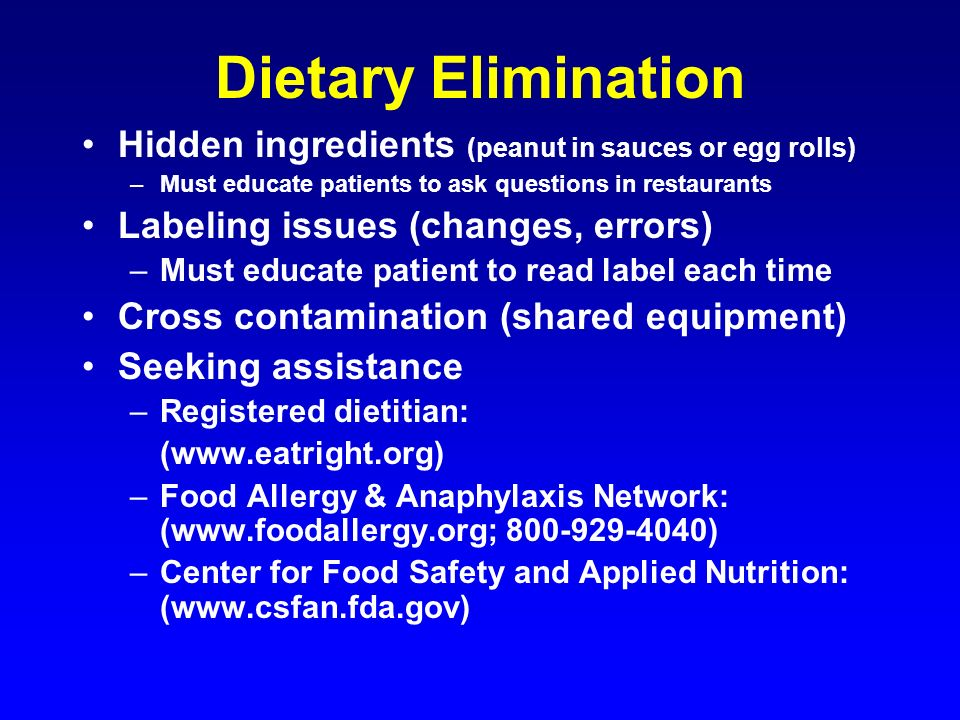 Dietary Elimination Hidden ingredients (peanut in sauces or egg rolls)