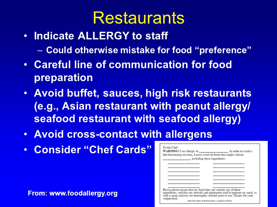 Restaurants Indicate ALLERGY to staff