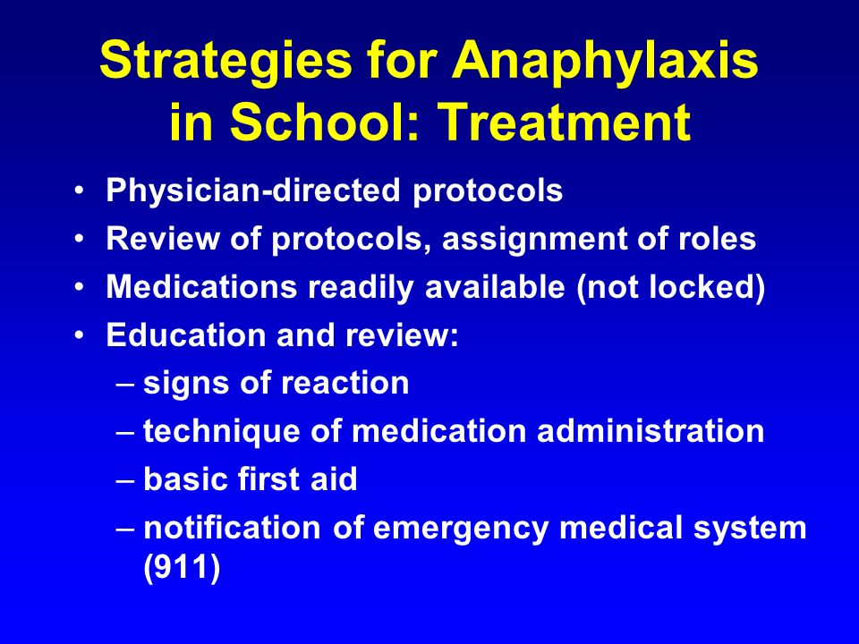 Strategies for Anaphylaxis in School: Treatment