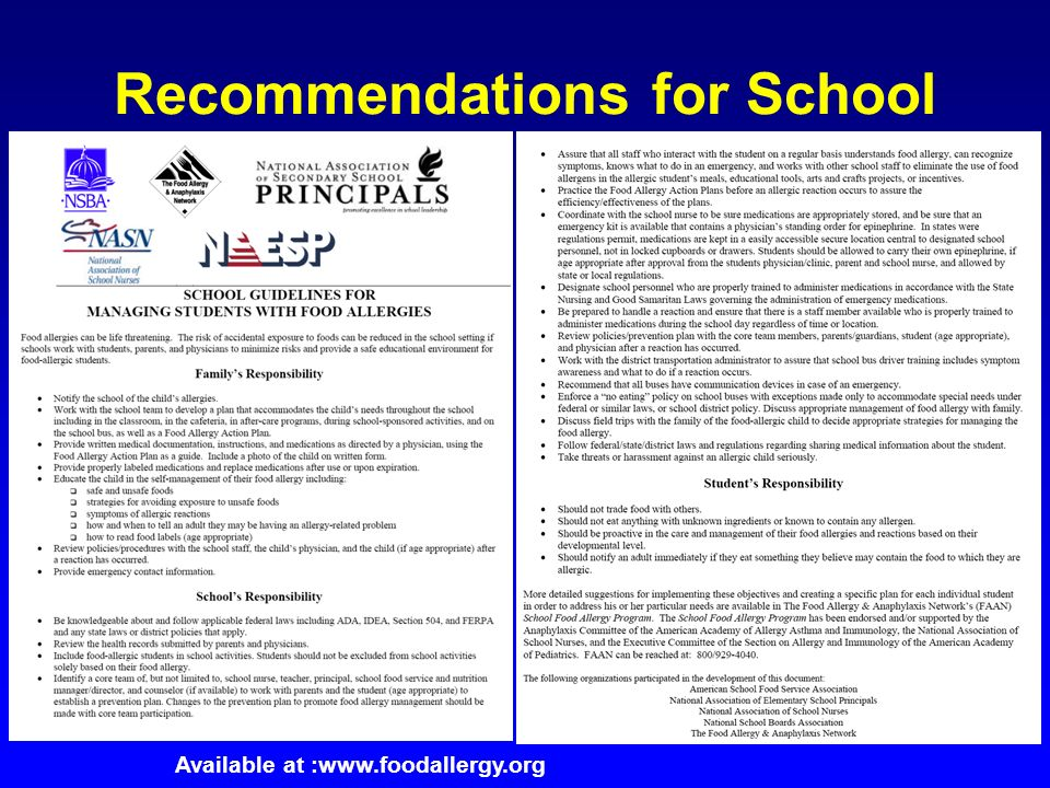Recommendations for School