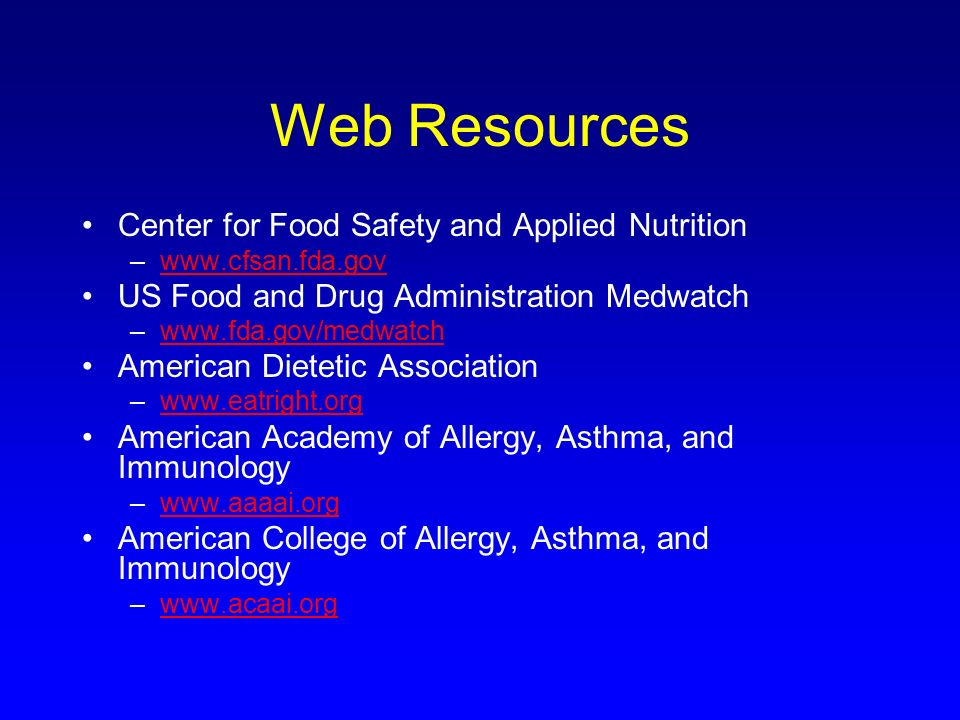 Web Resources Center for Food Safety and Applied Nutrition