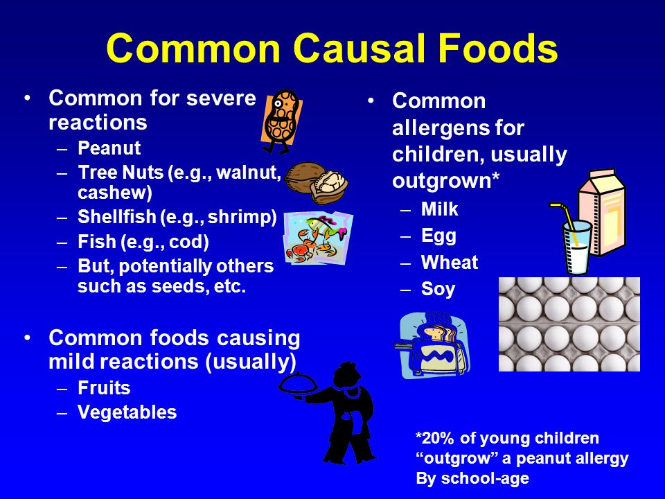 Common Causal Foods Common for severe reactions