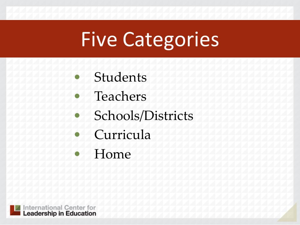 Five Categories Students Teachers Schools/Districts Curricula Home