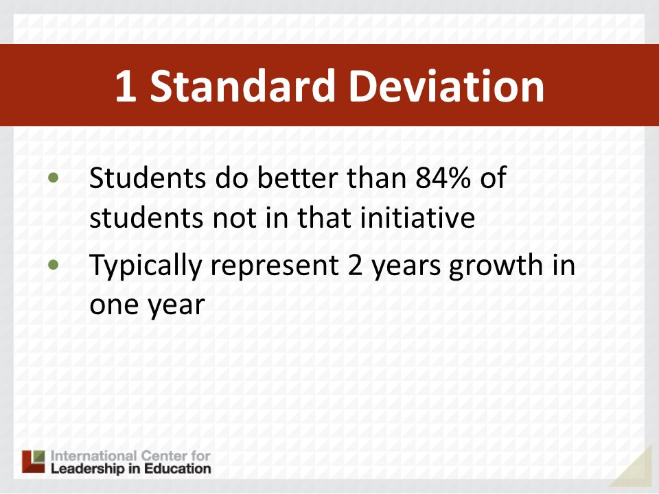 1 Standard Deviation Students do better than 84% of students not in that initiative.
