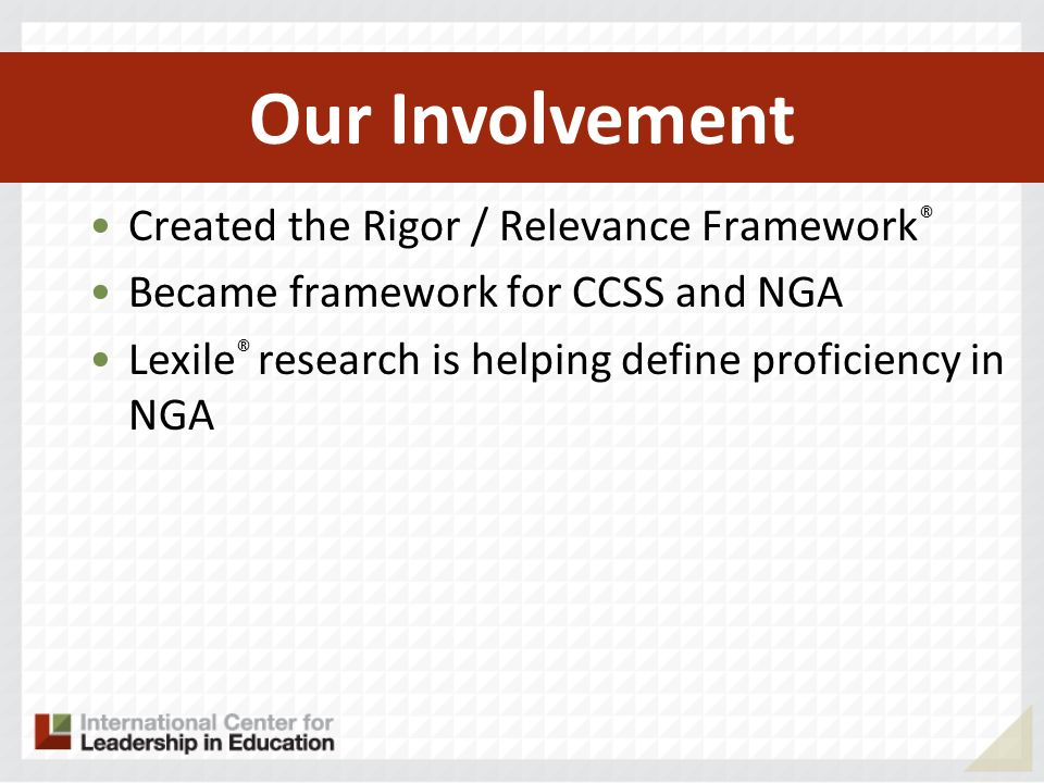 Our Involvement Created the Rigor / Relevance Framework®