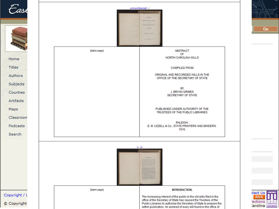 Books had a similar record page, and the text can be viewed in a single page with transcription and image