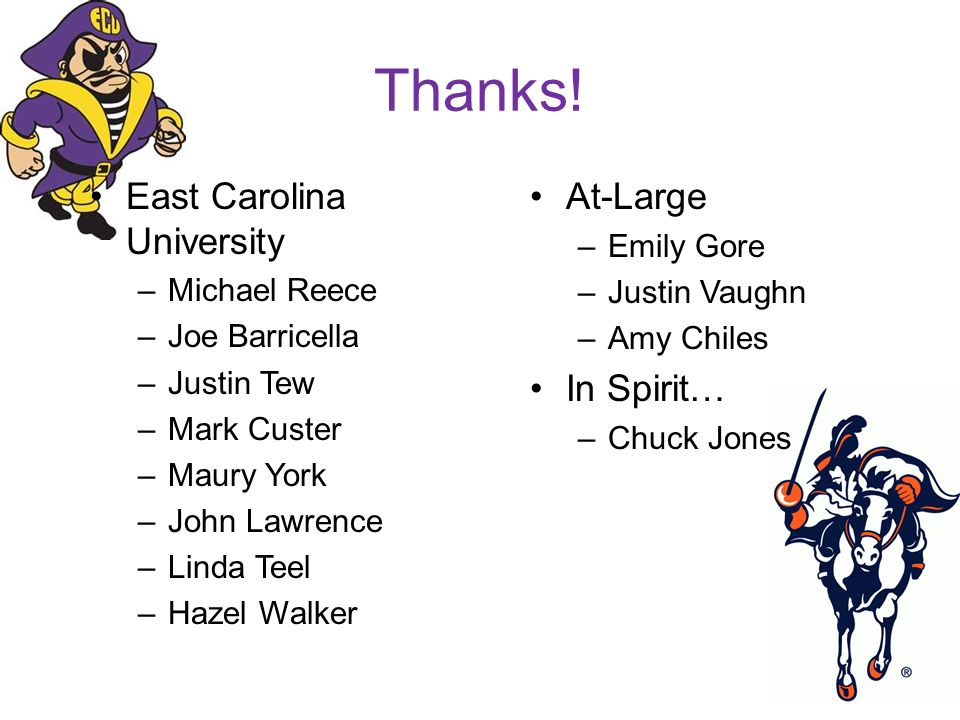 Thanks! East Carolina University At-Large In Spirit… Emily Gore
