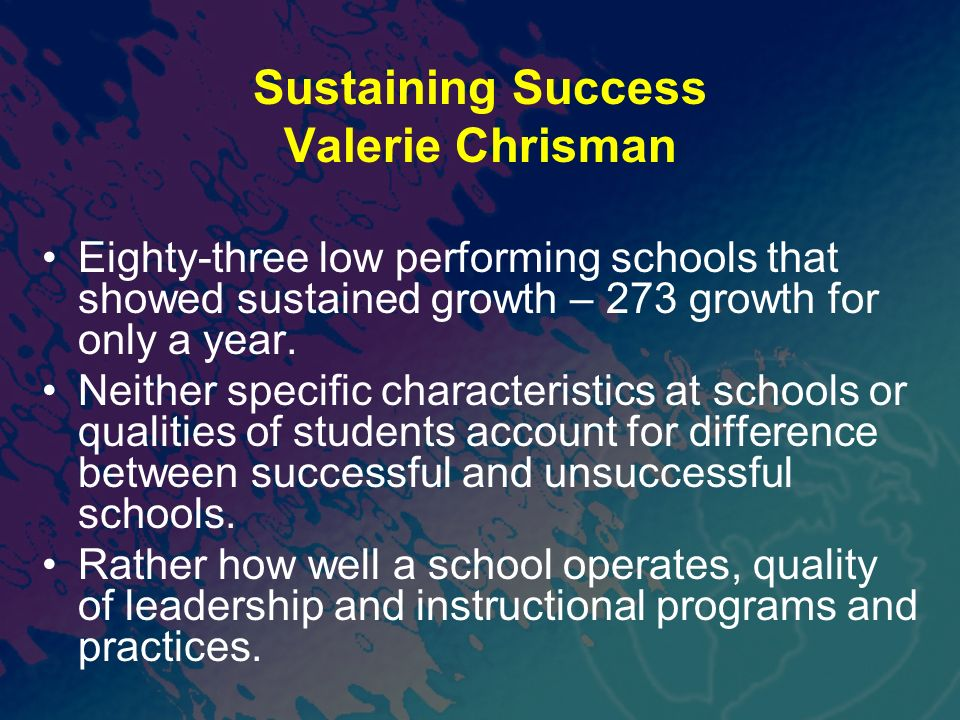 Sustaining Success Valerie Chrisman