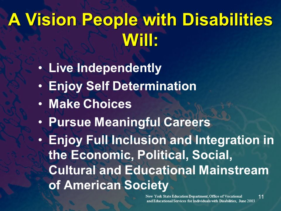 A Vision People with Disabilities Will: