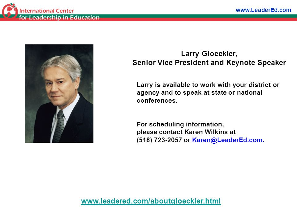 Larry Gloeckler, Senior Vice President and Keynote Speaker
