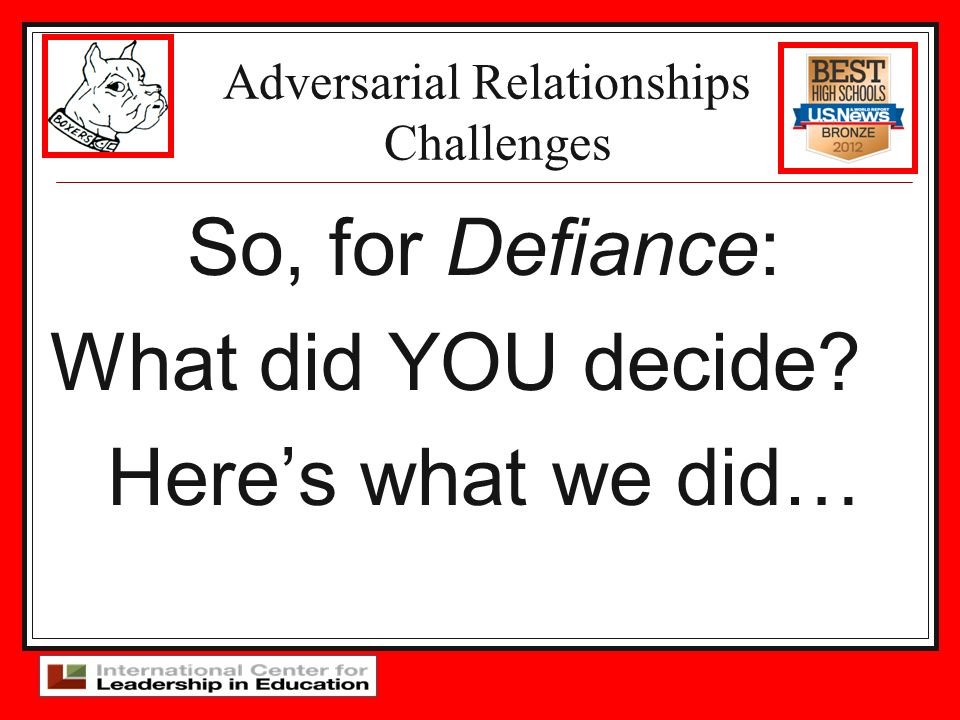 Adversarial Relationships Challenges