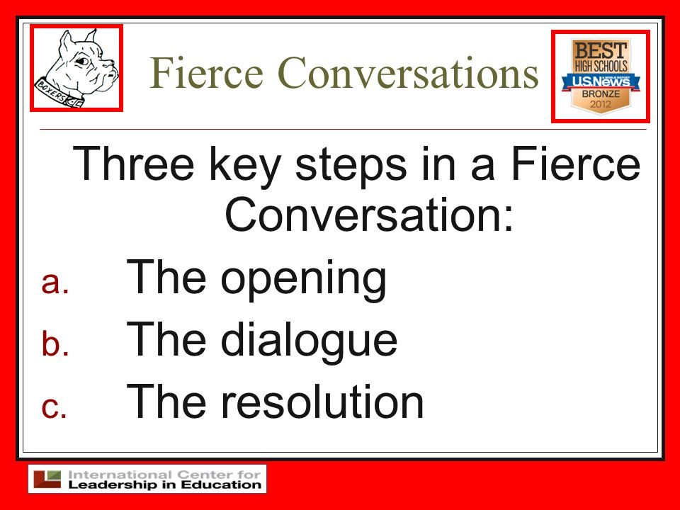Three key steps in a Fierce Conversation: