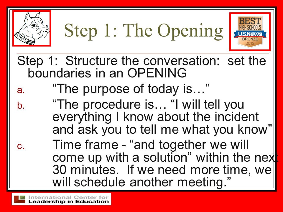 Step 1: The Opening Step 1: Structure the conversation: set the boundaries in an OPENING. The purpose of today is…