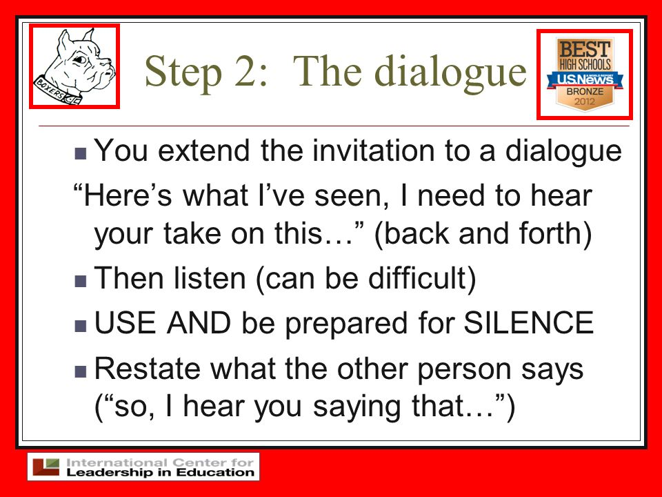 Step 2: The dialogue You extend the invitation to a dialogue
