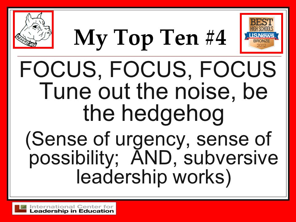 FOCUS, FOCUS, FOCUS Tune out the noise, be the hedgehog