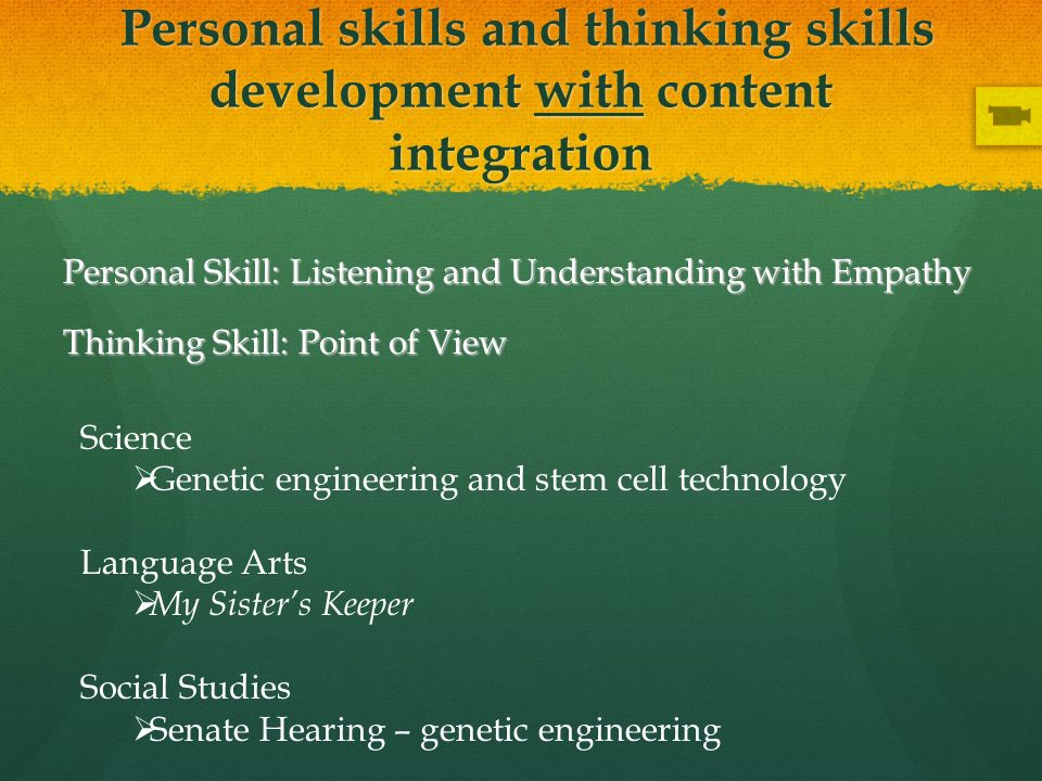 Personal skills and thinking skills development with content integration