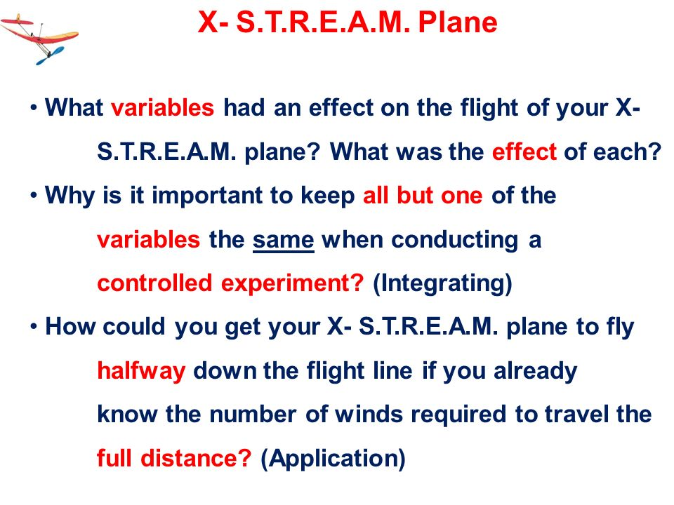 X- S.T.R.E.A.M. Plane What variables had an effect on the flight of your X- S.T.R.E.A.M. plane What was the effect of each