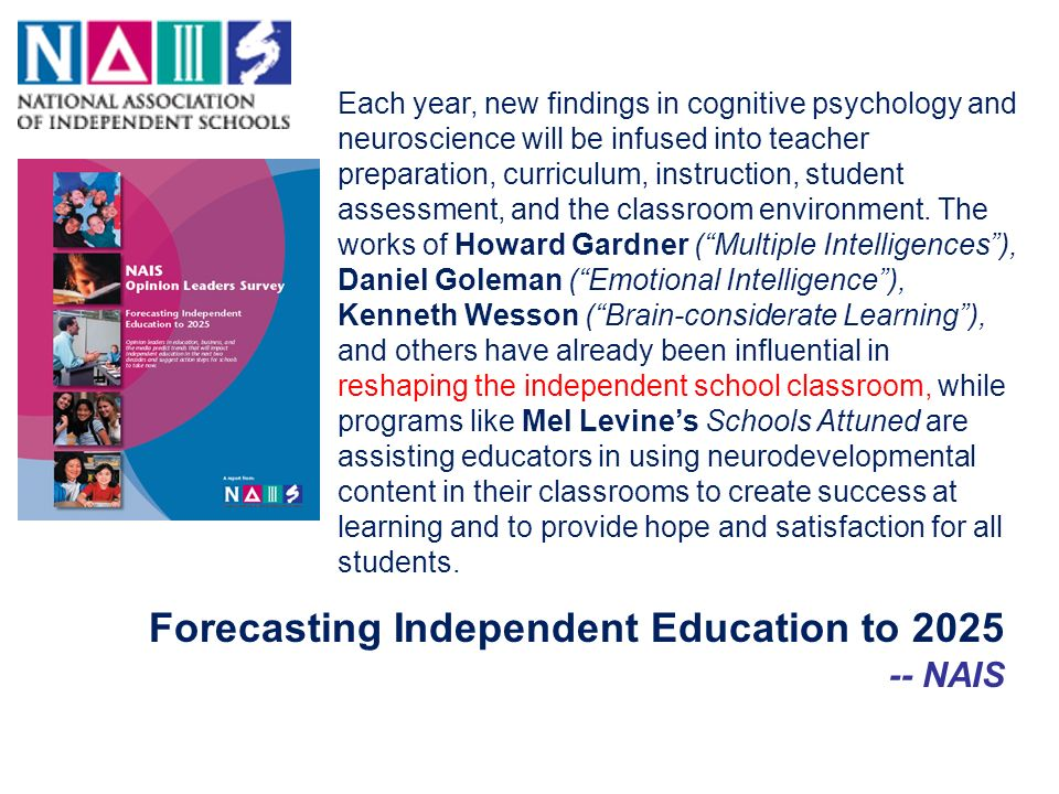 Forecasting Independent Education to 2025