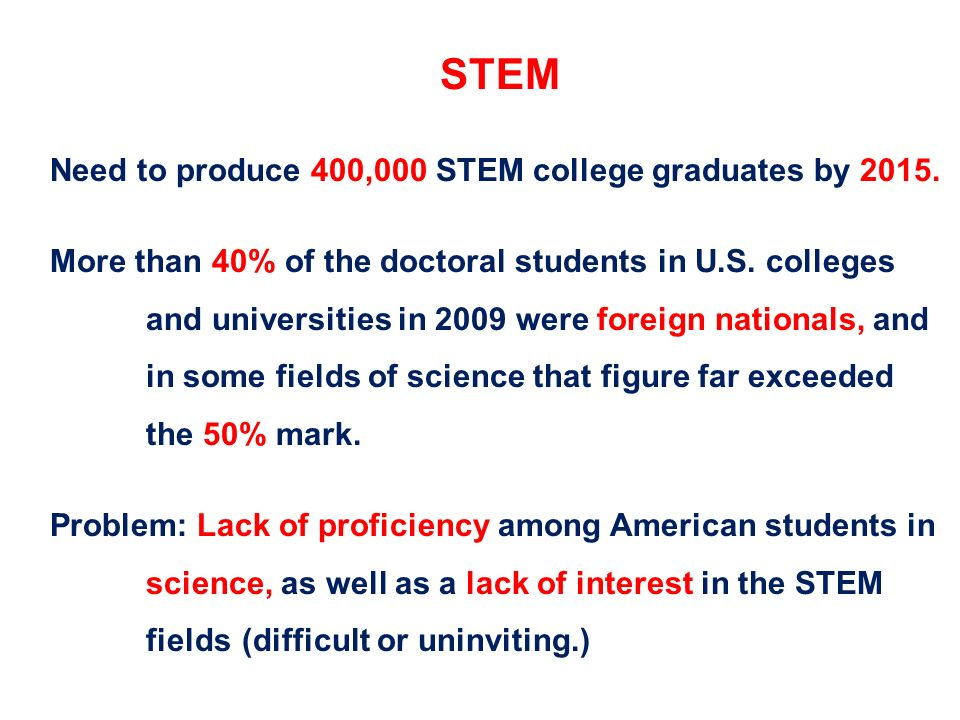 STEM Need to produce 400,000 STEM college graduates by 2015.