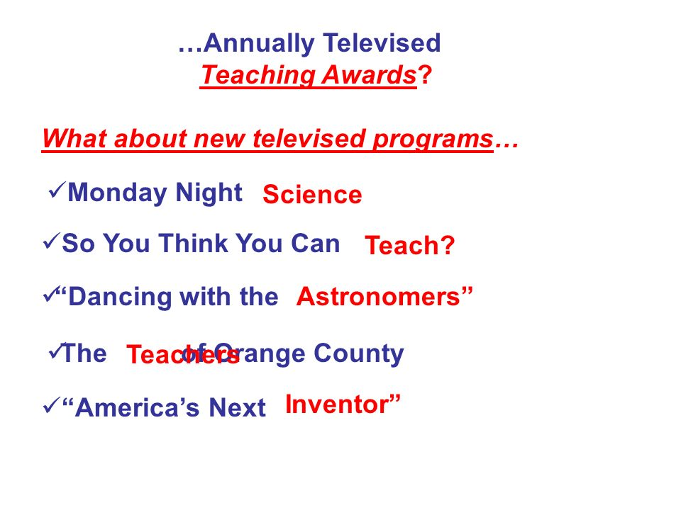 …Annually Televised Teaching Awards What about new televised programs… Monday Night. Science.