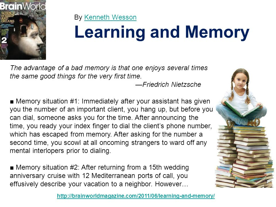 Learning and Memory By Kenneth Wesson