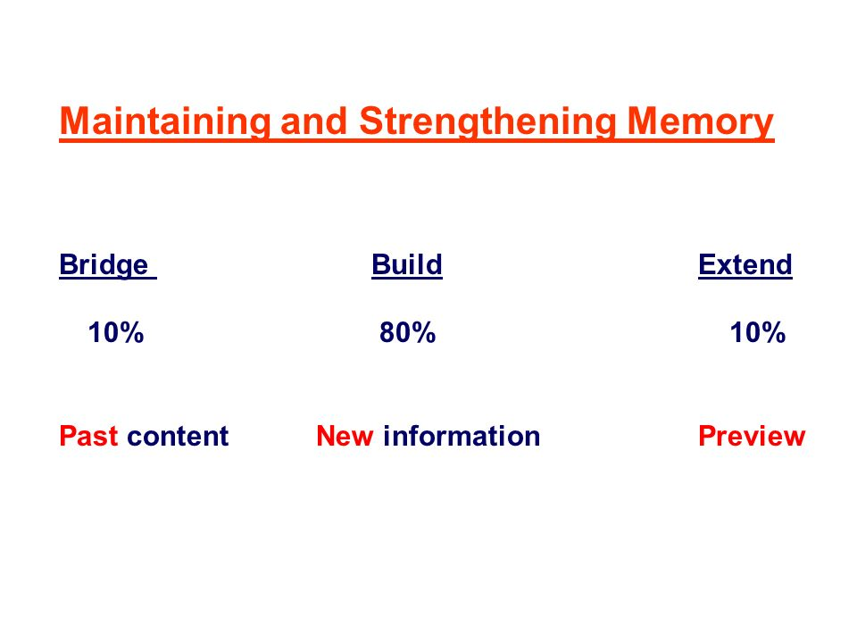 Maintaining and Strengthening Memory