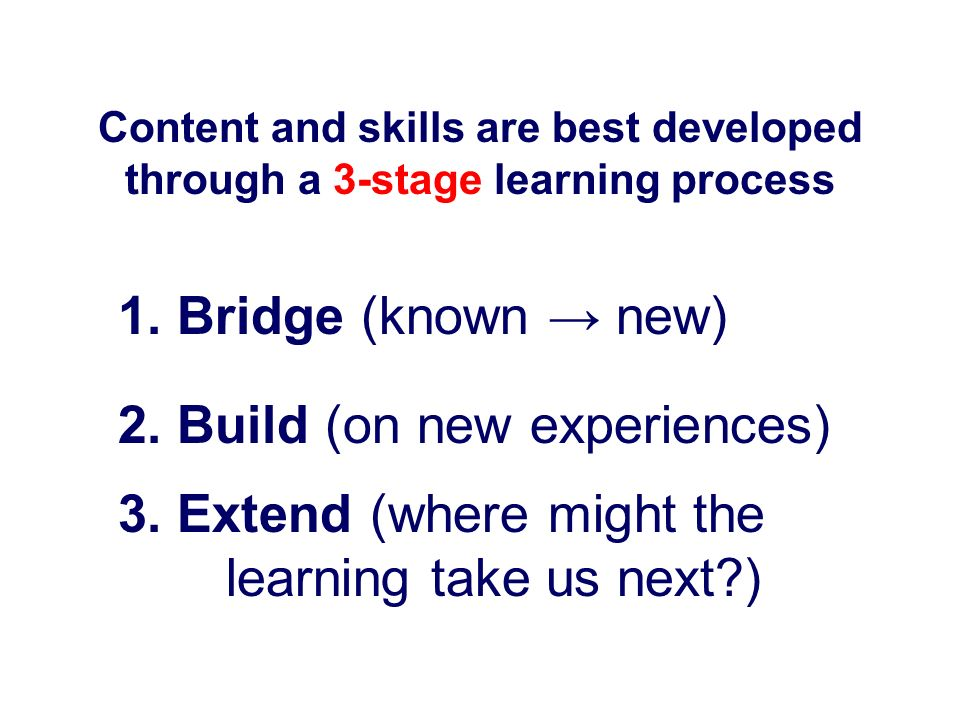 2. Build (on new experiences)