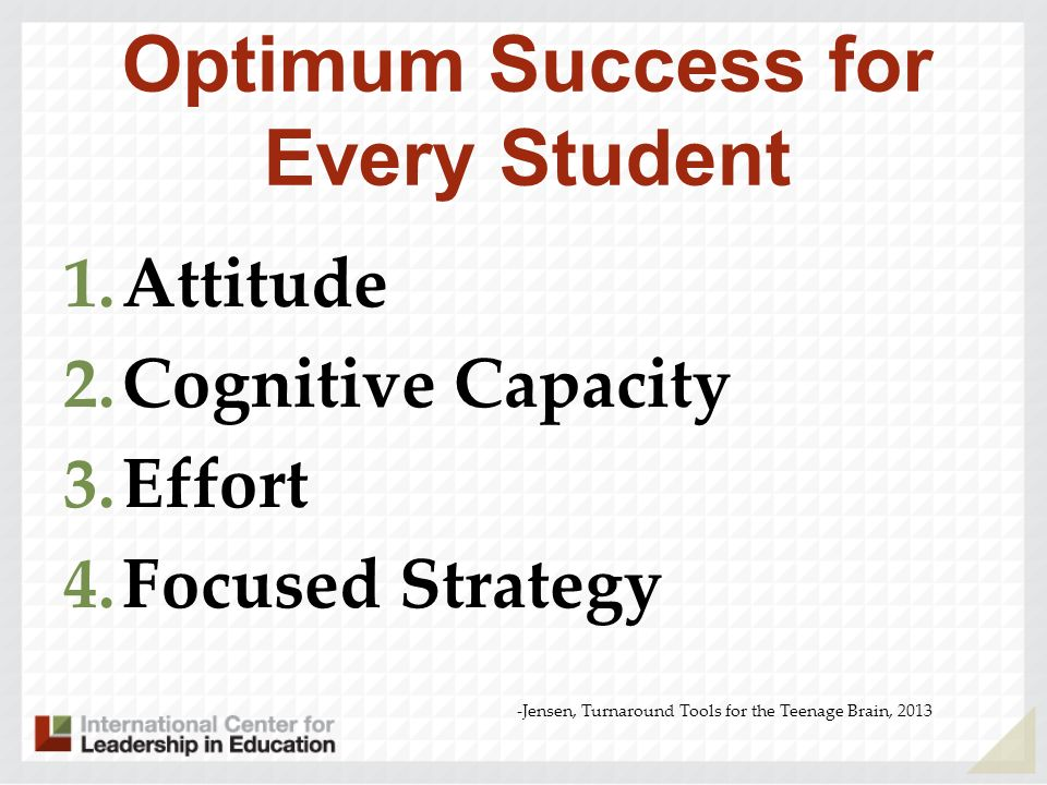 Optimum Success for Every Student