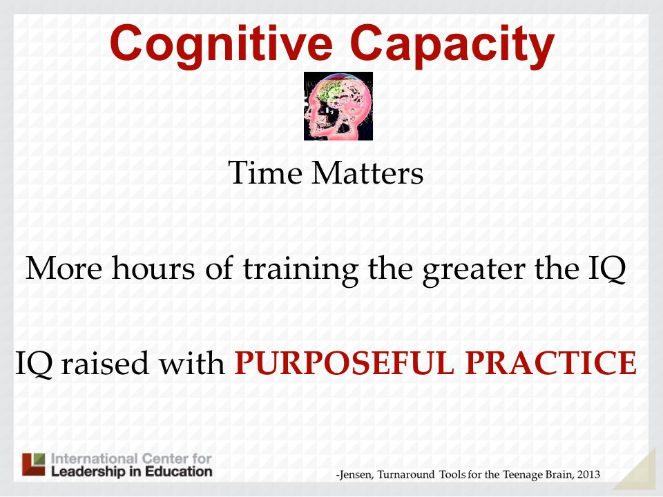 Cognitive Capacity Time Matters More hours of training the greater the IQ IQ raised with PURPOSEFUL PRACTICE