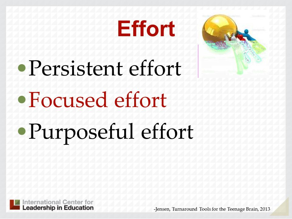 Effort Persistent effort Focused effort Purposeful effort