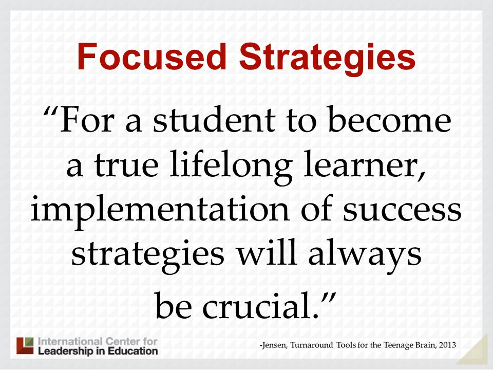 Focused Strategies For a student to become a true lifelong learner, implementation of success strategies will always be crucial.