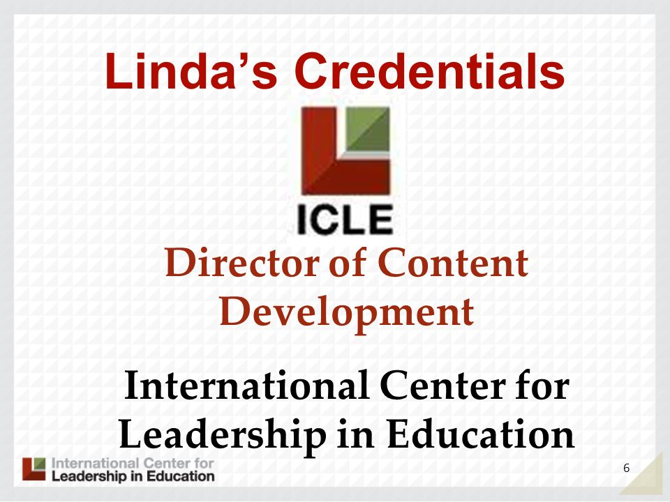 Linda's Credentials Director of Content Development