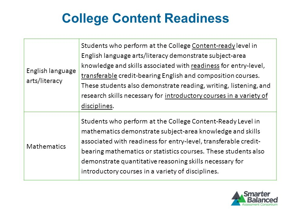 College Content Readiness